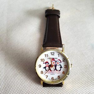 Brown Leather Kim Rogers Penguin Theme Wristwatch
